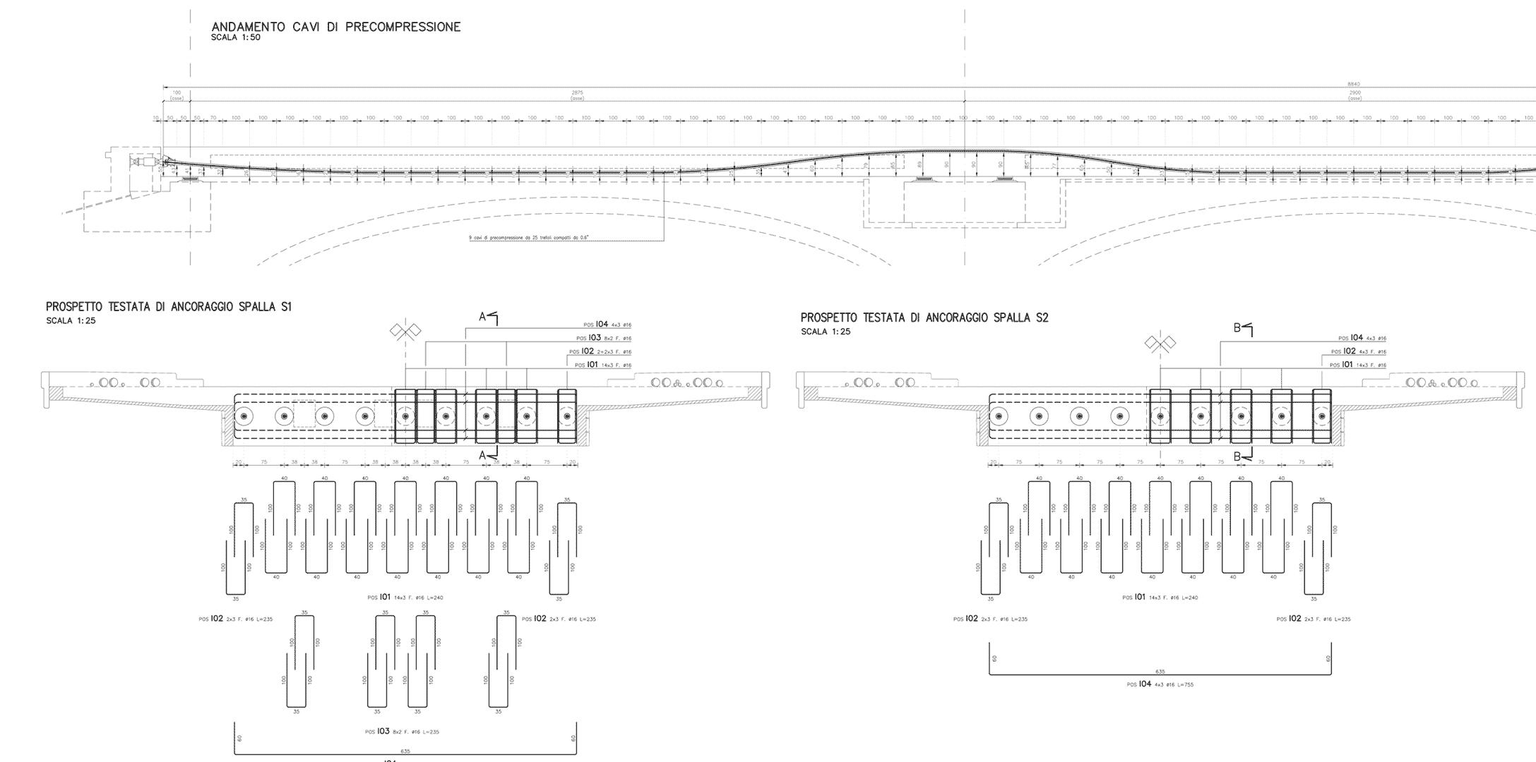 disegni del progetto per il ponte di Moggio