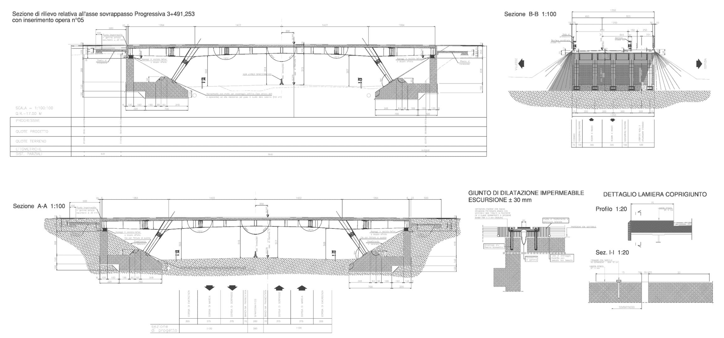 disegni sezioni trasversali progetto