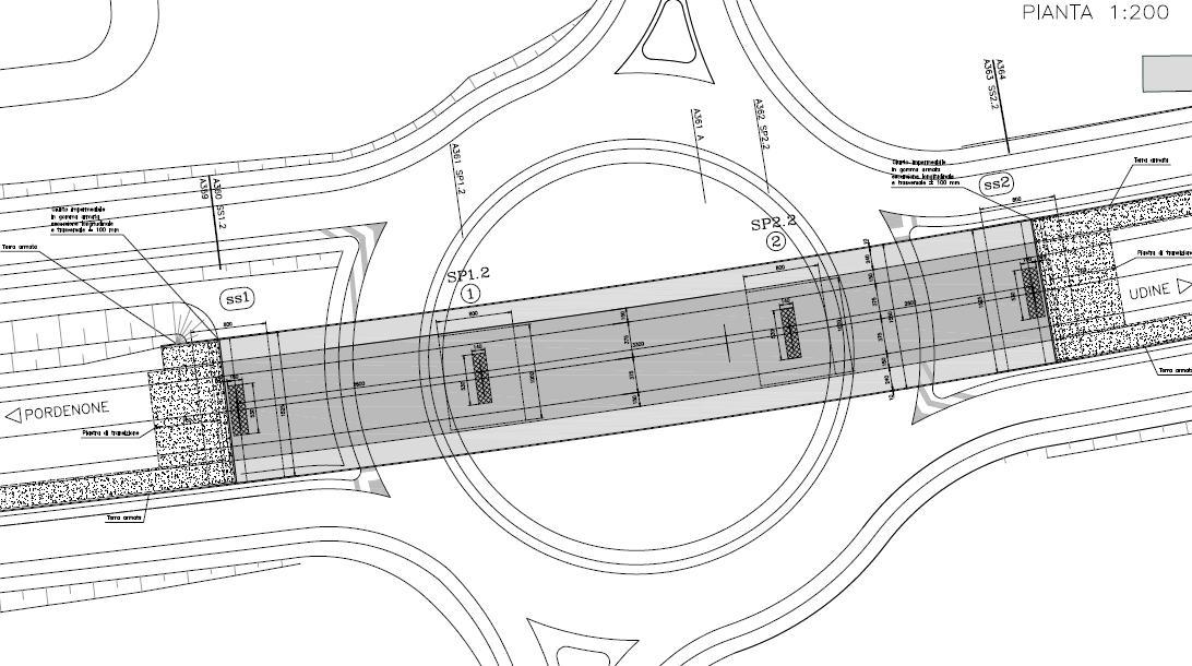 disegno progetto viadotto sopra rotatoria