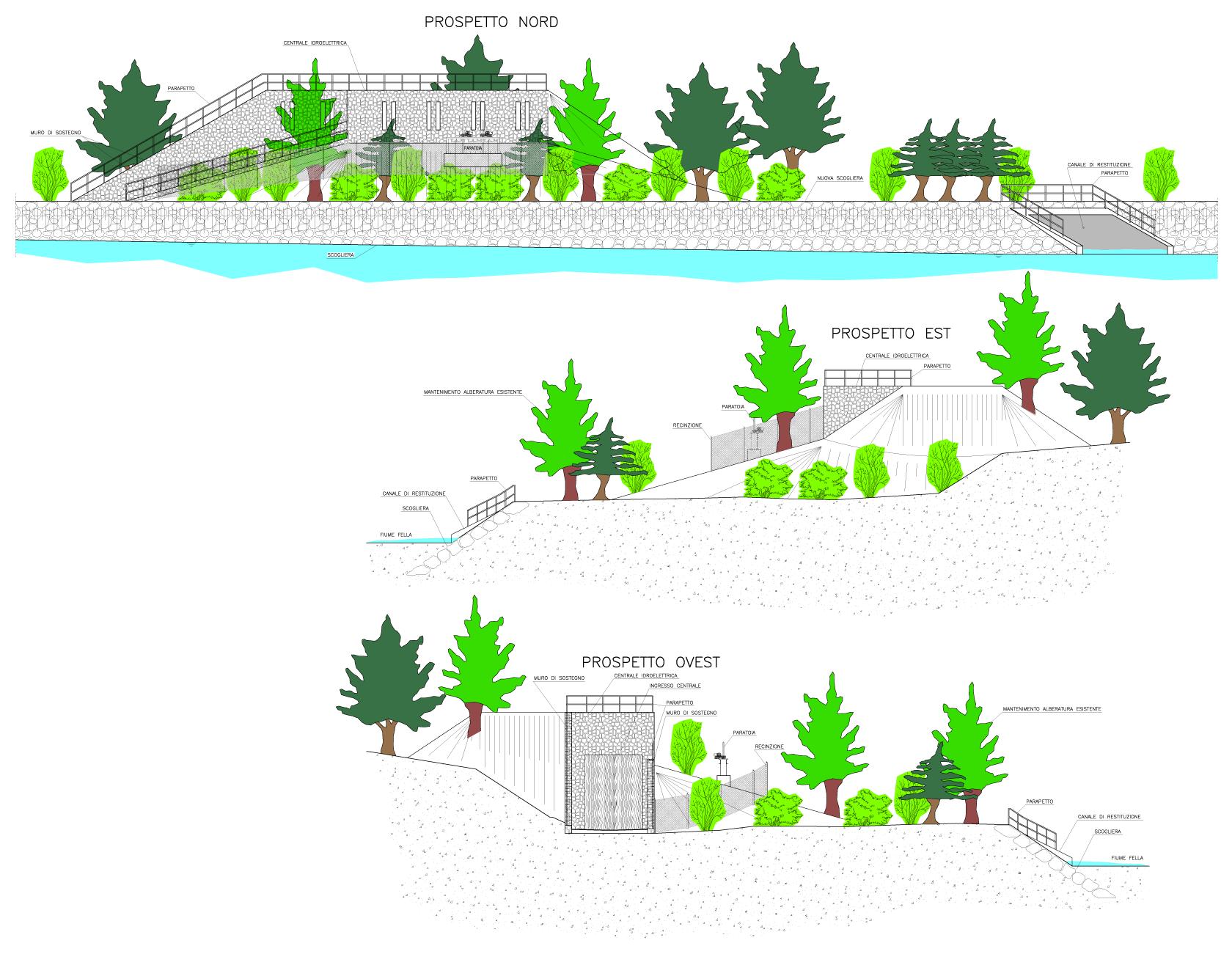 disegni prospetti impianto idroelettrico San Leopoldo-Pontebba