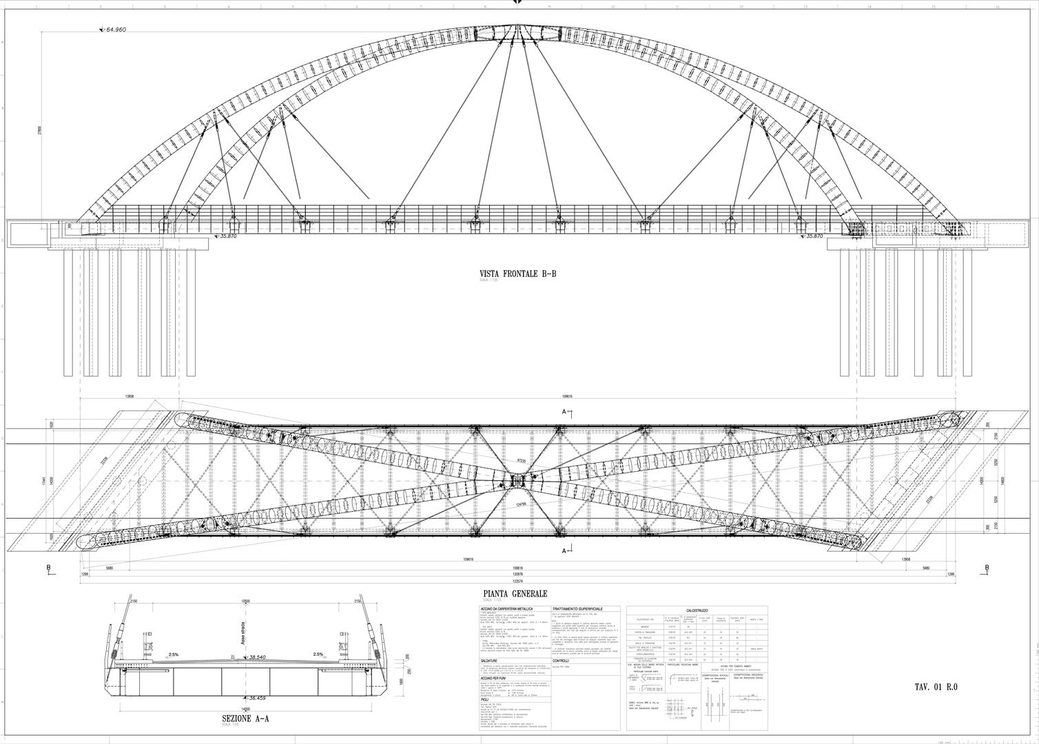 disegni del progetto del ponte sul Versa a Mariano