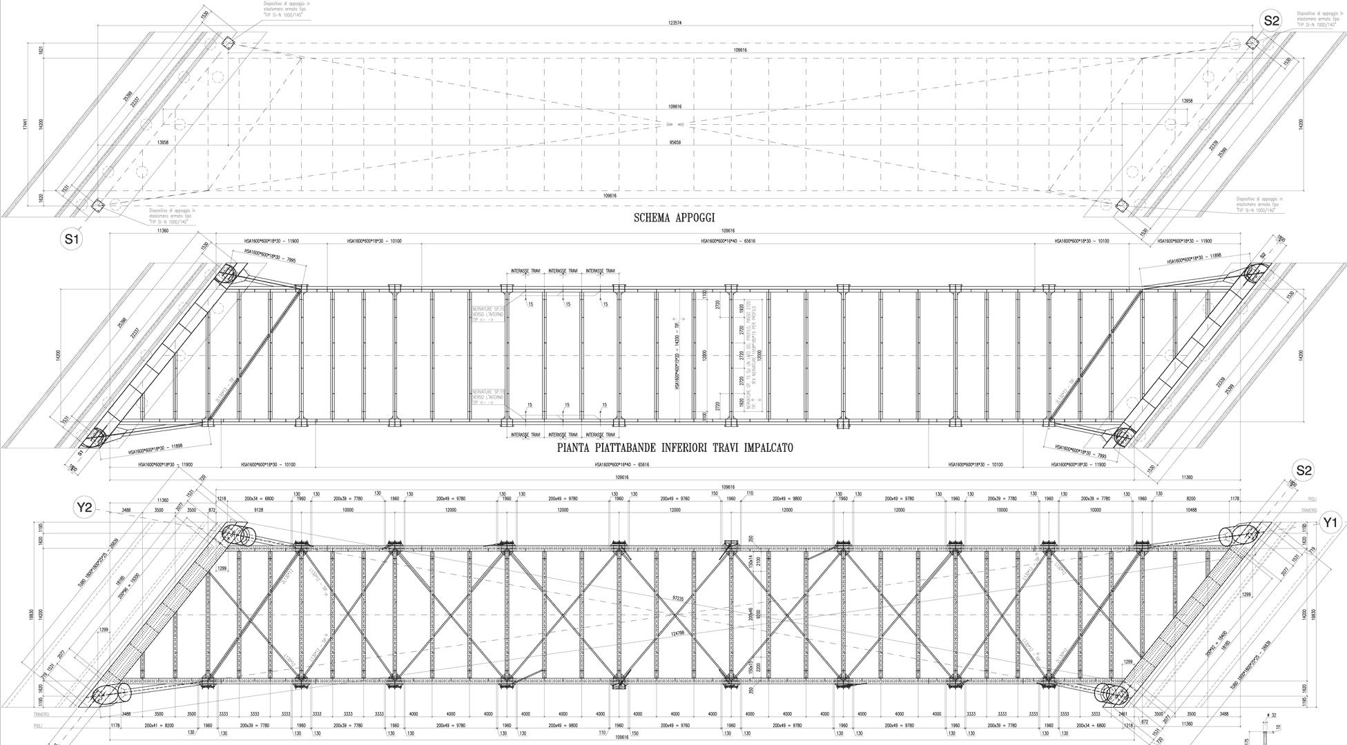 disegni progetto impalcato del ponte sul Versa a Mariano