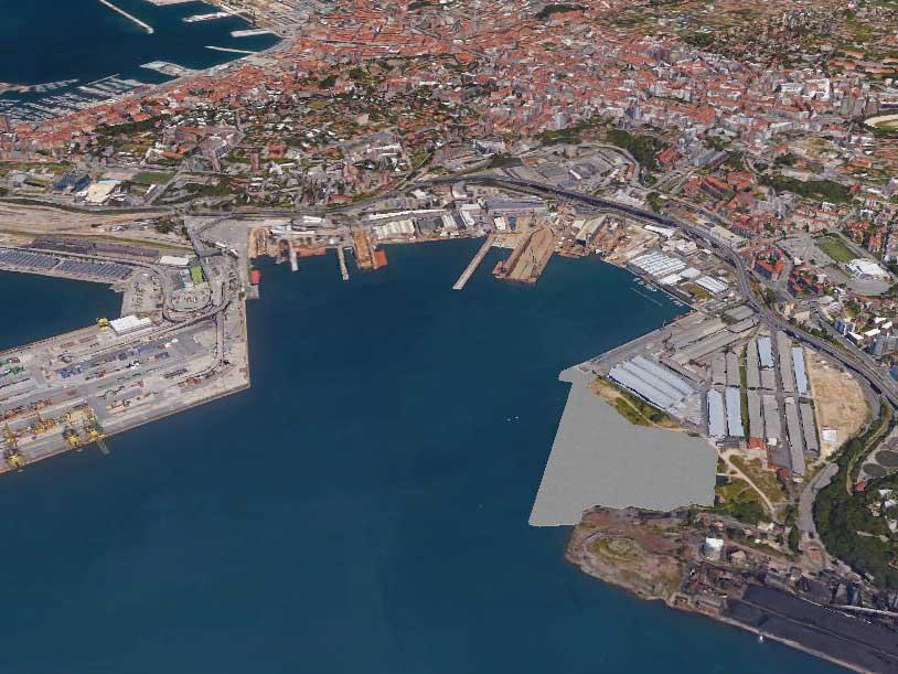 Vista aerea parziale porto Trieste