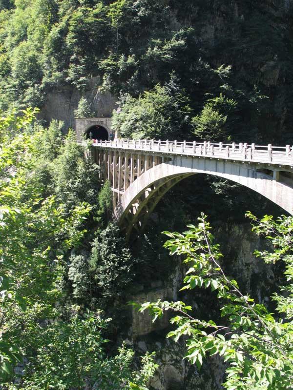Ponte ad arco in calcestruzzo sul Lumiei