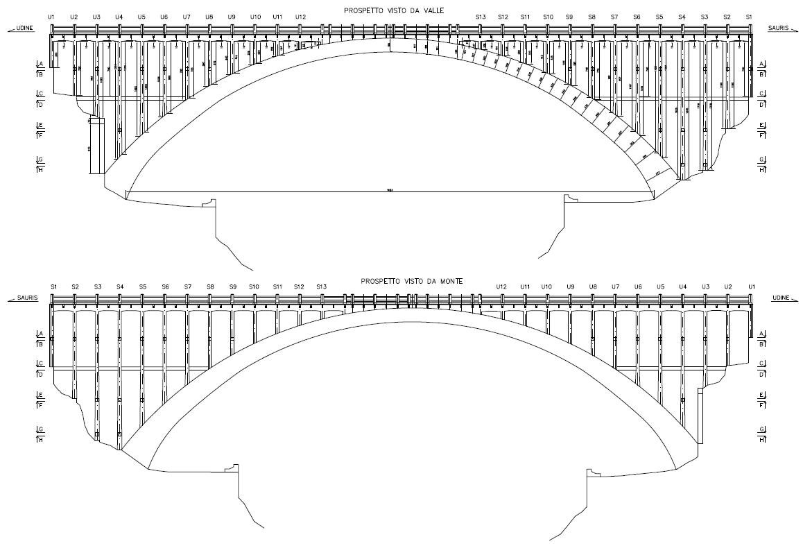 disegno storico progetto ponte sul Lumiei