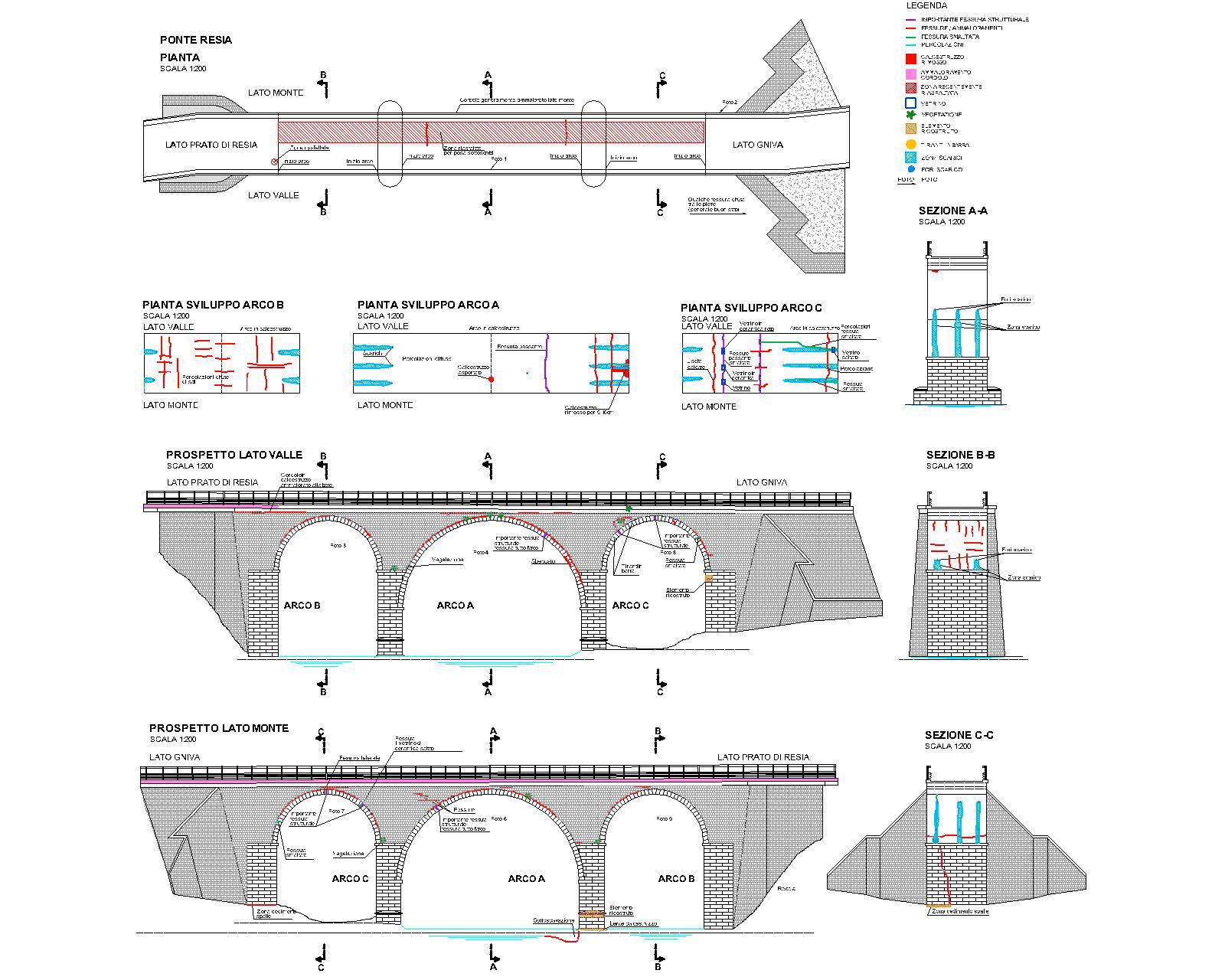 disegno zone di intervento al ponte di Resia