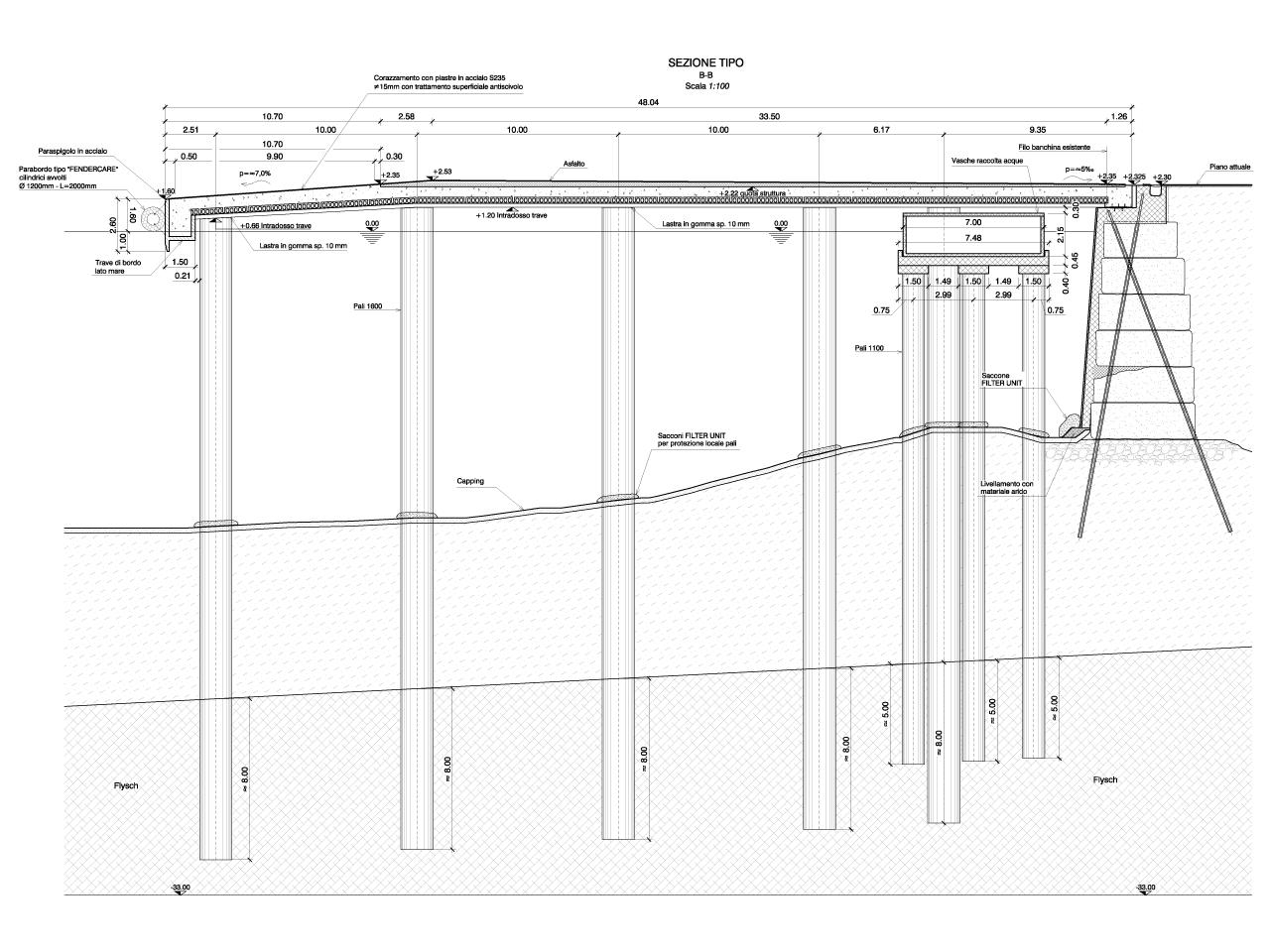 disegno progetto sezione banchina su pali
