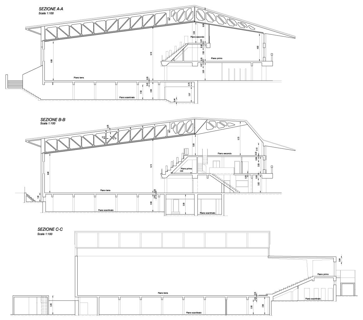disegni sezioni Pala CONI M. Benedetti a Udine